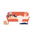 happy naked couple lying on couch after sex vector image vector image