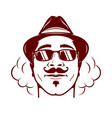 hipster face with mustache stylish hat and soke vector image vector image