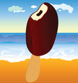 ice cream and beach in background vector image vector image