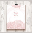 Invitation with chrysanthemum hanging on binder vector image vector image