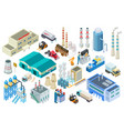 isometric industrial buildings workers delivery vector image vector image
