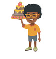 little african boy holding a chocolate cake vector image vector image