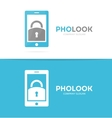 lock and phone logo combination Padlock vector image vector image