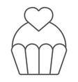 love cake thin line icon sweet and muffin vector image vector image