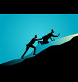 man pushing his exhausted friend uphill vector image
