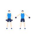 man training shoulders in gym vector image