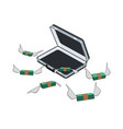 money flies out of an open suitcase vector image vector image