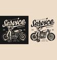 motorcycle garage service vintage label vector image vector image