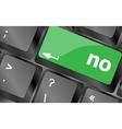 No - text on a button keyboard key Keyboard keys vector image vector image