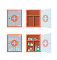 red medical cabinet with open and closed glass vector image vector image