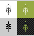 rice ear line icon plant with leaves or seeds vector image vector image