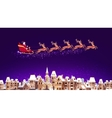 Santa Claus in sleigh pulled by reindeer flying
