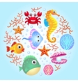 Sea creatures background 2 vector image