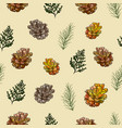 seamless pattern cones and coniferous twigs on vector image