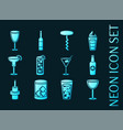set bar blue glowing neon icons vector image