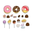 Set of Candy and Muffins Icons Cakes Sweets vector image vector image