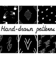 Set of hand-drawn seamless patterns vector image