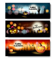 set of holiday halloween banners with pumpkins vector image