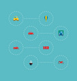 set of vehicle icons flat style symbols with air vector image