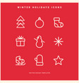 set of winter holidays icons vector image vector image
