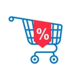 shopping cart with percentage discount vector image