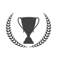 Silhouette of Trophy Cup Winner with a Laurel vector image