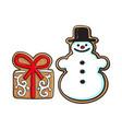 snowman present box christmas gingerbread cookies vector image vector image