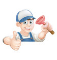 spanner man over banner thumbs up vector image vector image