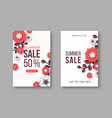 summer sale banners with paper cut flower and vector image