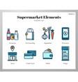 supermarket elements linecolor pack vector image
