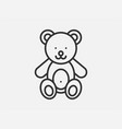 teddy bear toy icon on white background line vector image vector image