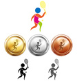 Tennis icon and sport medals vector image