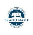 vintage rhinoceros logo design vector image vector image