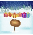Winter background with gift boxes vector image