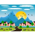 Rural landscape with small town in mountain vector image