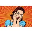 Attractive woman covering her face with both hands vector image