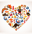 australia love - heart with set of icons