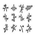 Bamboo icons Asian plant stalks and leaves vector image vector image