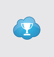 Blue cloud winner cup icon vector image