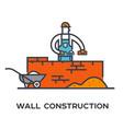 builder puts bricks marshalling wall vector image
