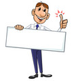 businessman with blank sign vector image vector image