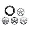 car rims realistic wheels vehicle tyres vector image