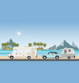 caravan car driving car on road on the beach vector image