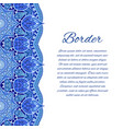card with mandala border card or invitation blue vector image vector image