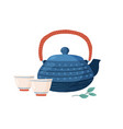 cast iron colored teapot with cute cups and vector image