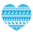 Christmas card with heart- blue Nordic pattern vector image