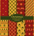 christmas seamless patterns set vector image vector image