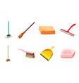 cleaning tools icon set cartoon style vector image vector image