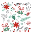 Collection of Christmas and New year elements vector image