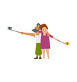 couple bearded man and plump woman making selfie vector image